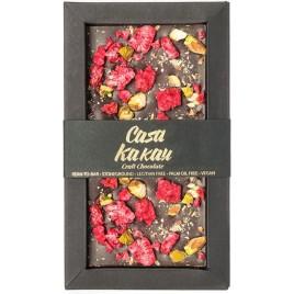Ciocolata artizanala cu fistic si zmeura liofilizata -  70 g