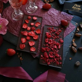 Ciocolata artizanala cu zmeura liofilizata -  70 g