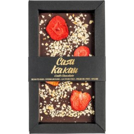 Ciocolata artizanala cu capsuni liofilizate si alune -  70 g